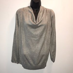 LANE BRYANT Silver Metallic~Split Sleeve Top~14/16